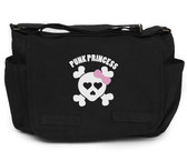 Punk Princess Pink Skull on Black Canvas Diaper Bag Front