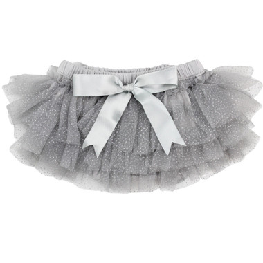 Gray Silver Sparkle Tutu Diaper Cover with Bow.