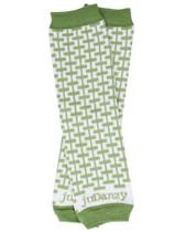 Baby Leg Warmers: Organic Green & White