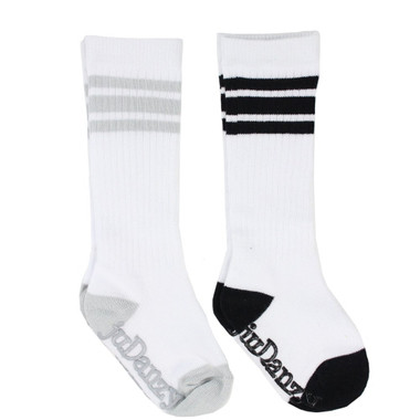 Baby 2 Pair Tube Sock Gift Set: Black & Gray Stripes