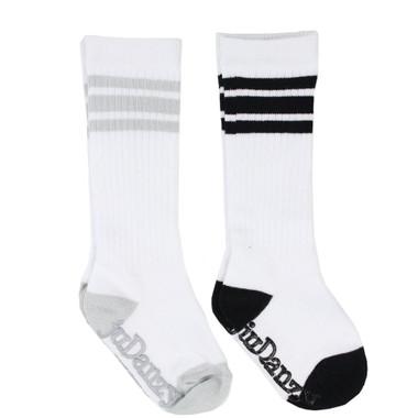 Baby 2 Pair Tube Sock Gift Set: Black & Gray Stripes
