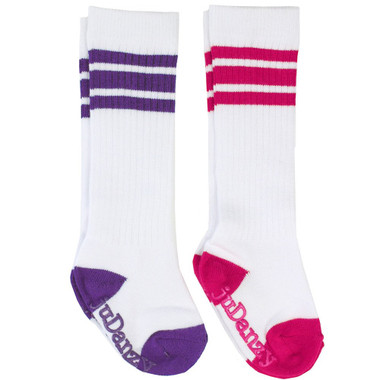 Baby Girl 2 Pair Tube Sneaker Sock Gift Set: Pink & Purple