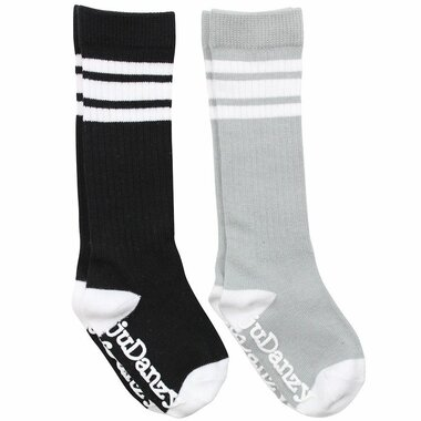 Baby 2 Pair Tube Sock Gift Set: Black & Gray