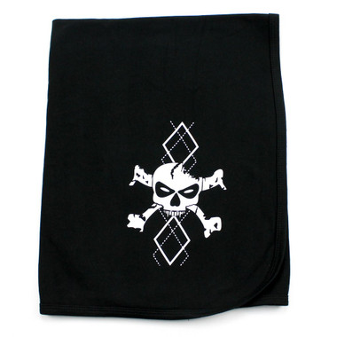 White Argyle Skull Receiving Swaddling Baby Blanket