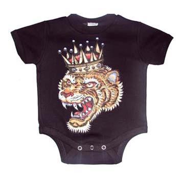 Black Crowned Tiger Baby Onesie