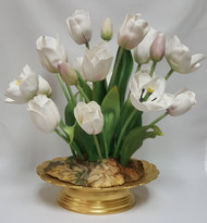 "Boehm ""White Tulip Centerpiece w/Gold Base"" F384W 1 Of A Kind w/Gold Base)"