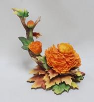 "Boehm ""Chrysanthemum With Autumn Leave F239C"