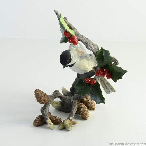 Boehm Chickadee With Berries & Pinecone Hallmark 40599