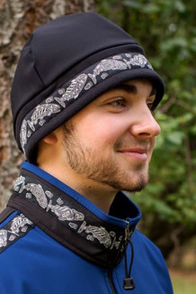 MEN'S ARCTIC HAT / (Hybrid) / Solid Black,  / Salmon-Grey (trim)