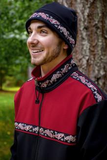 MEN'S ARCTIC HAT / (Hybrid) / Solid Black,  / Salmon-Red (trim)