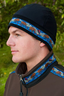 MEN'S ARCTIC HAT / (Hybrid) / Solid Black,  / Katmai-Navy (trim)