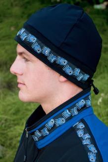 MEN'S ARCTIC HAT / (Hybrid) / Solid Black,  /  Bear Tracks-Blue (trim)
