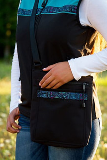 SHOULDER BAG / (Softshell) /  Black,  / Totem-Aqua (trim)