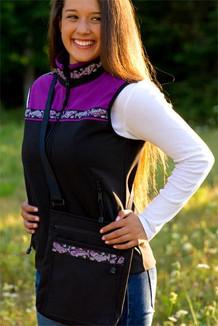 SHOULDER BAG / (Softshell) / Black,  / Salmon-Purple (trim)