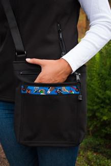 SHOULDER BAG / (Softshell) / Black,  / Alaska Chatter-Cobalt(trim)