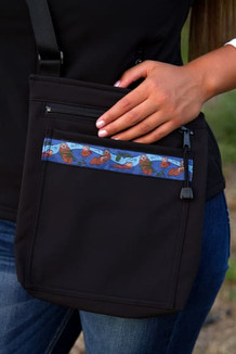 SHOULDER BAG / (Softshell) / Black,  / Sea Otters-Navy (trim)