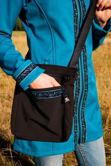 SHOULDER BAG / (Softshell) /   Black,  / Velvet-Blue (trim)
