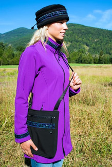 SHOULDER BAG / (Softshell) / Black,  / Velvet-Lupine (trim)