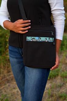 SHOULDER BAG / (Softshell) / Black,  / Loons-Green (trim)
