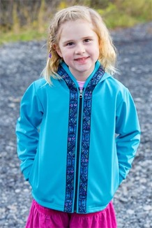 BEACHBERRY JACKET / (Softshell)  / Tide Pool, / Totem-Aqua (trim)