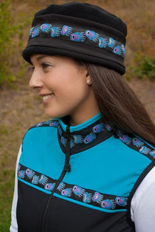 WOMEN'S AURORA HAT / (Softshell) / Solid Black,  / Bear Tracks-Purple (trim)