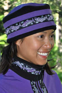 WOMEN'S AURORA HAT / (Softshell) / Lupine, Black,  / Salmon-Purple (trim)