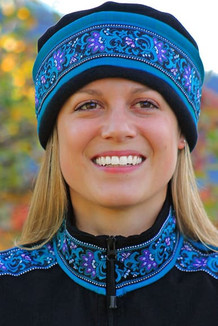 WOMEN'S AURORA HAT / (Softshell) /  Ocean, Black,  / Wild Geranium (trim)