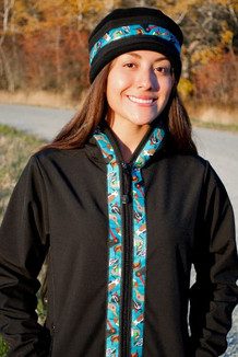 DENALI JACKET / (Softshell)  / Black, / Alaska Chatter-Teal (trim)