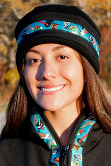 WOMEN'S AURORA HAT / (Softshell) / Solid Black,  / Alaska Chatter-Teal (trim)