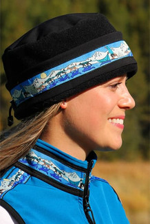 WOMEN'S AURORA HAT / (Softshell) / Solid Black,  / Race Is On-Teal (trim)