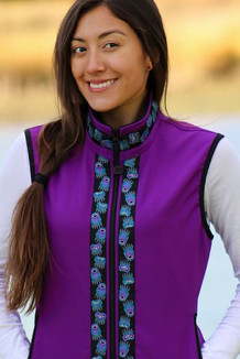 WOMEN'S GLACIER VEST / (Softshell) /  Razzleberry, / Bear Tracks-Purple (trim)