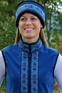 WOMEN'S GLACIER VEST / (Softshell) /  Bluestone, / Tres Belle-Blue (trim)