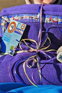 BLANKET - 5' x 5'  / (Double-Sided Thermal Fleece) /  Purple Heather, / Race Is On-Purple (trim)