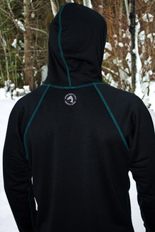 MEN'S HOODIE /   Solid Black (waffle-textured) with Spruce thread