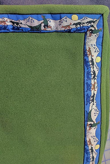 BLANKET - 5' x 5'  / (Double-Sided Thermal Fleece) /  Sage, / Race Is On-Green (trim)