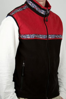 MEN'S KODIAK VEST / - SALE - CLOSEOUT - / (Windblock Fleece) / Black, Molten Red, / Totem-Brite (trim)