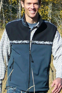 MEN'S KODIAK VEST / - SALE - CLOSEOUT - (Softshell) / Slate, Black / Salmon-Navy (trim)