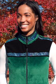 WOMEN'S KODIAK VEST / (Windblock Fleece) / Malachite, Black, / Totem-Aqua (trim)