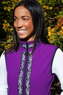 WOMEN'S GLACIER VEST / (Softshell) /  Razzleberry, / Salmon-Purple (trim)