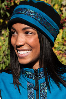 WOMEN'S AURORA HAT / (Softshell) / Ocean, Black,  / Totem-Aqua (trim)