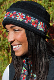 WOMEN'S AURORA HAT / (Softshell) /   Raven, Black,  / Midnight Blossom (trim)