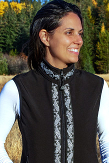 WOMEN'S GLACIER VEST / (Softshell) /  Black, / Salmon-Grey (trim)