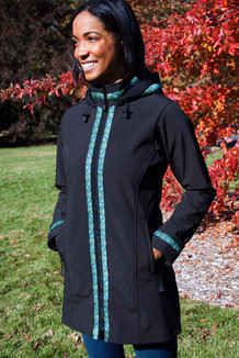 BOREALIS JACKET / (Softshell) / Black, / Peacock Feathers(trim)