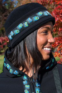 WOMEN'S AURORA HAT / (Softshell) / Solid Black,  / Bear Tracks-Lime (trim)