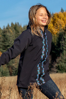 BEACHBERRY JACKET / (Softshell)  / Black, /  Bear Tracks-Purple (trim)