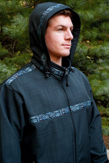 KODIAK JACKET / (Softshell) /  Solid Raven, /  Totem-BlueGrey (trim)