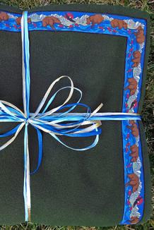 BLANKET - 5' x 5'  / (Double-Sided Thermal Fleece) /  Bay leaf, / Katmai-Navy (trim)