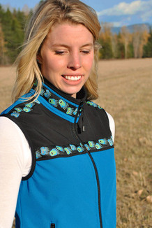 WOMEN'S KODIAK VEST / - SALE - CLOSEOUT - / (Softshell) /  Turquoise, Black, / Bear Tracks-Lime (trim)