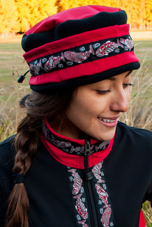 WOMEN'S AURORA HAT / (Softshell) / Ruby,  Black,  / Salmon-Red (trim)