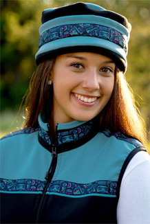 WOMEN'S AURORA HAT / (Softshell) /  Glacier,  Black,  / Totem-Aqua (trim)